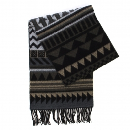 wholesale O62 Cashmere feel scarf 91001 Tribal Black
