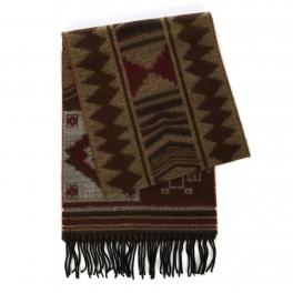 wholesale O60 Cashmere feel scarf Tribal pattern Brown fashionunic