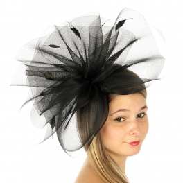 wholesale BX60 Horsehair fascinator w/ feathers Black