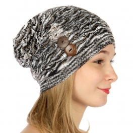 wholesale O24 Marled beanie two buttons Black