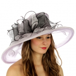 wholesale BX50 Feather bow organza dress hat Lavender