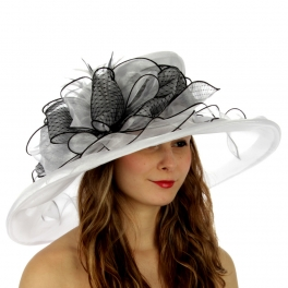 wholesale BX50 Feather bow organza dress hat White