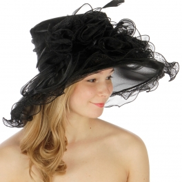 wholesale BX100 Ruffle organza hat Black fashionunic