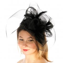wholesale Q51 Fascinator w/horsehair Black fashionunic