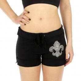 Wholesale K55 Cotton fleur de lis rhinestone shorts BK