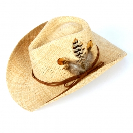 wholesale W56 Straw cowboy hat w/ feather Natural