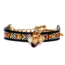 wholesale N45 Multicolored woven cord with gemstone bracelet GDRD
