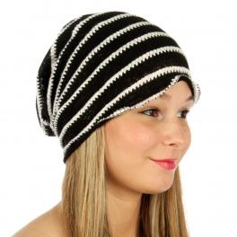 wholesale V18 Stripe knit beanie Black fashionunic