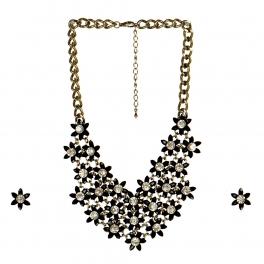 wholesale N43 Floral necklace set Black fashionunic