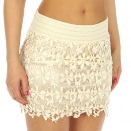 wholesale N00 Crochet Skirt Ivory fashionunic