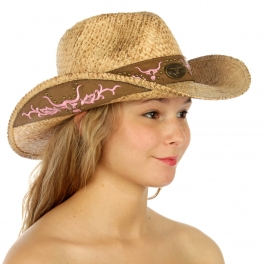 V63 Raffia cowboy wholesale hat /Tea stained Pink