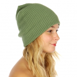 Wholesale W54 Ribbed beanie with leather accent SG