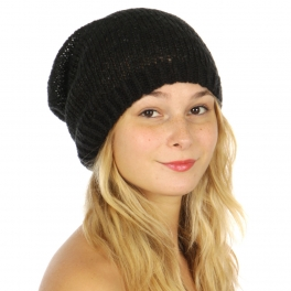Wholesale W56 Open knit sequin beanie Black fashionunic