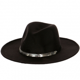 Wholesale V76 Poly Felt metal strap hat BK fashionunic