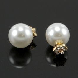 Wholesale L36 Faux pearl studs with studded gold back