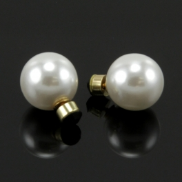 Wholesale L36 Faux pearl studs with gold back Gold