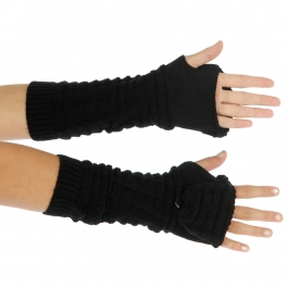 Wholesale S54 Knit arm warmer with mitten cover Black