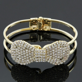 Wholesale L25D Faux diamond bow bracelet GOLD