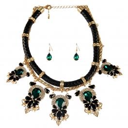Wholesale L25E Faux leather stones necklace set GDGR