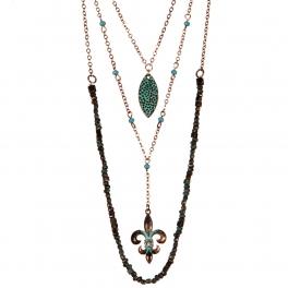 Wholesale M12D Multi layered fleur de lis necklace OG