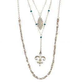 Wholesale M12D Multi layered fleur de lis necklace SB