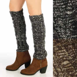 wholesale Two tone marled cable knit leg warmers with cuff