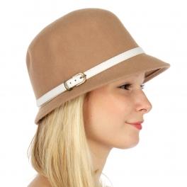 Wholesale W52 Wool felt bucket hat with faux leather belt Camel/White