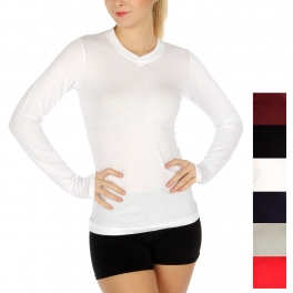 wholesale Long sleeve cottonblend v neck 6 pcs.