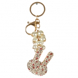 wholesale Studded bunny and faux pearls keychain