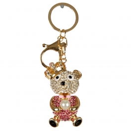 wholesale Studded teddy bear with faux pearl keychain