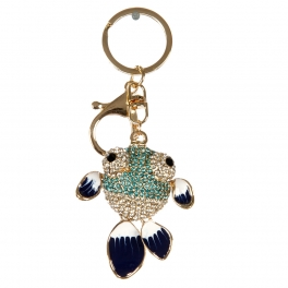 wholesale Multicolored studded fish keychain