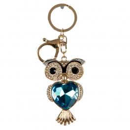 wholesale Studded blue stone owl keychain