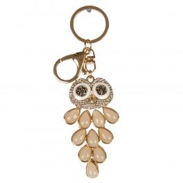 wholesale Studded owl head and stone keychain