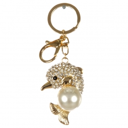 wholesale Faux pearl and studded dolphin keychain G fashionunic