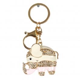 wholesale Striped studded elephant keychain fashionunic