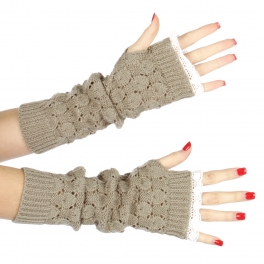 Wholesale Q58 Lace tip knit arm warmers Grey
