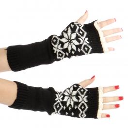 Wholesale Q03 Snowflake knit arm warmers Black