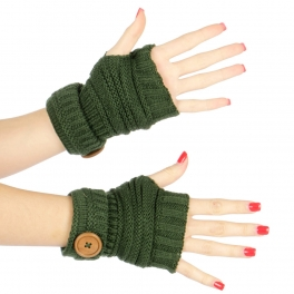 Wholesale Q01 Big buttoned knit arm warmers Green