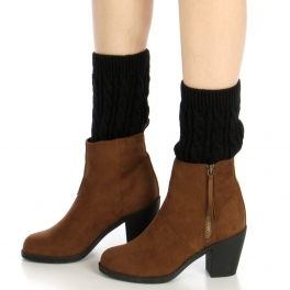 Wholesale R00 Cable knit leg warmers Black