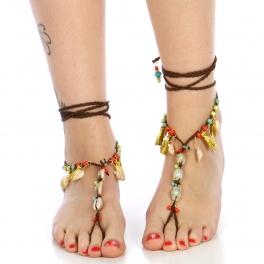 wholesale Beaded and tasseled wrap around anklets GBMT