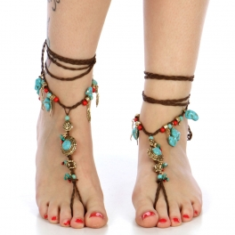 wholesale Turquoise charms wrap around anklets GBTQC