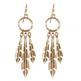 Wholesale L22D Three feathers metal earrings RGB