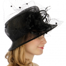 Wholesale BX80 Veil corsage flower sinamay clochet hat BK