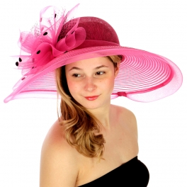 wholesale Polka dot and net dress hat HOT PINK fashionunic