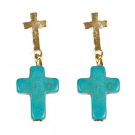 Wholesale M00E Double cross earrings GTQ