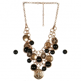 Wholesale L05B Pave cross faux pearl necklace RSBKCL