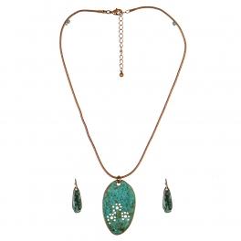 Wholesale M11A Stone Featured Pendant Necklace Set OG