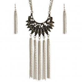 Wholesale M09D Faux Gem Long Tassel Necklace Set SB