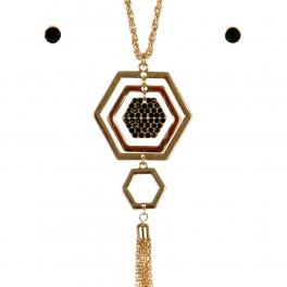 Wholesale N44D Hexagon Tassel Necklace GBK