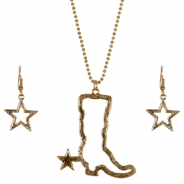 Wholesale M11B Texas Boot Star Necklace Set AG